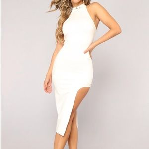 White sleeveless gold white halter slit midi dress